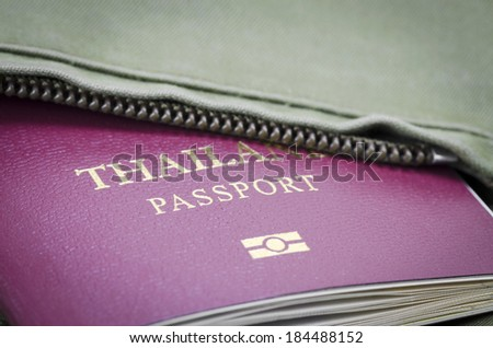 Passport to tuck in a shirt pocket. - stock photo