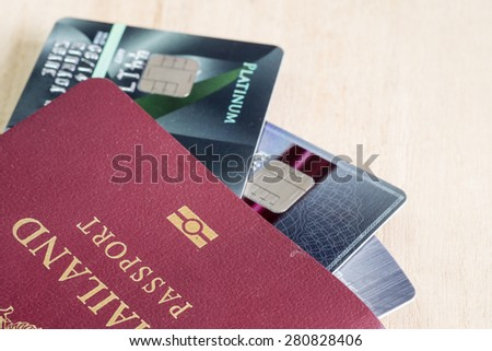 Passport with credit card - stock photo