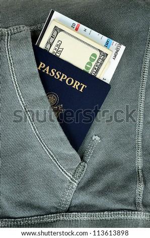 Passport Money Boarding Pass Side Pocket Stock Photo Royalty Free