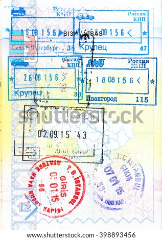 Passport with stamps of Russia, Macedonia and Turkey - stock photo