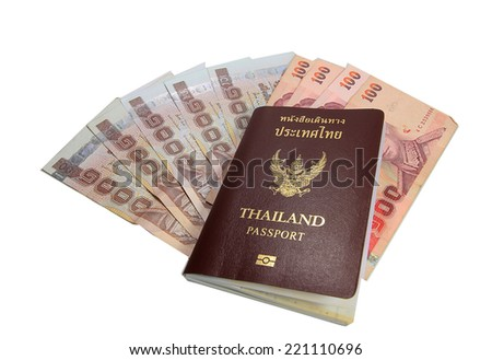 Passport with the money isolated