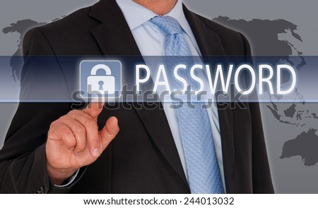 Password - Businessman with touchscreen and button - Data Security - stock photo
