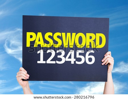 Password 123456 card with sky background - stock photo