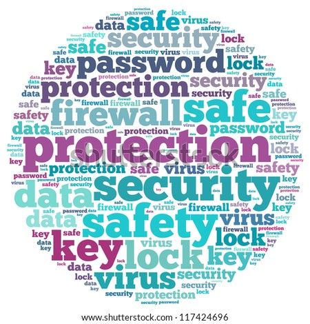 Password info-text graphics and arrangement concept on white background (word cloud)