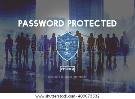 Password Protected Network Security Protection Concept - stock photo