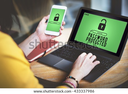 Password Protected Privacy Policy Private Security Concept - stock photo