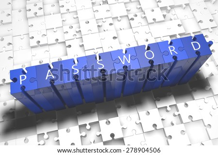 Password - puzzle 3d render illustration with block letters on blue jigsaw pieces  - stock photo