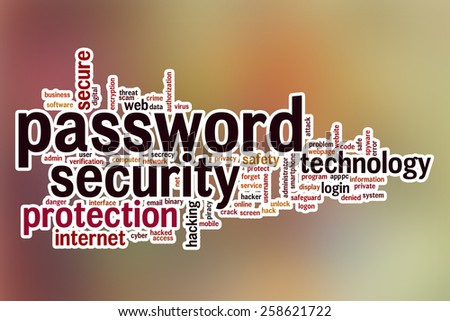 Password security word cloud concept with abstract background - stock photo