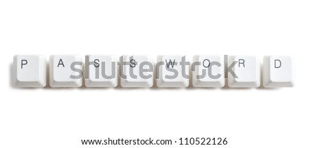 Password word written with computer buttons over white background - stock photo