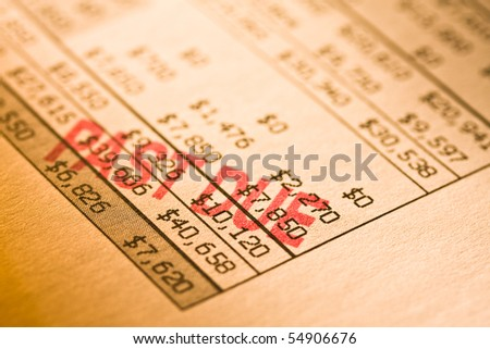 Past due statement. Shot with shallow depth of field. - stock photo