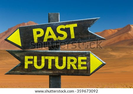 Past - Future signpost in a desert background - stock photo