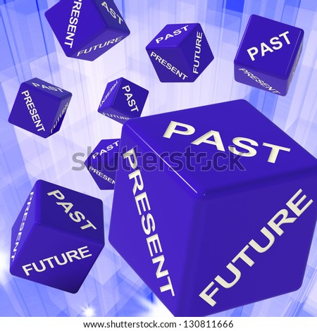 Past, Present, Future Dice Showing Forecasts And Predictions - stock photo