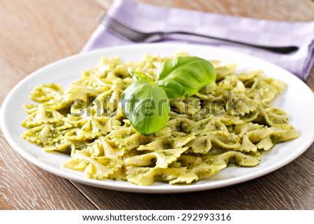 Pasta al pesto - stock photo