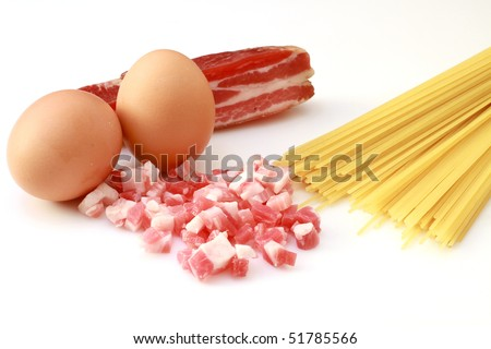 pasta alla carbonara - stock photo