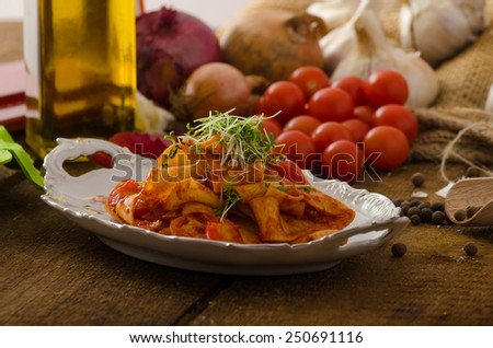 Pasta arrabiata with chilli and garlic organic, microgreens - bio healthy on top