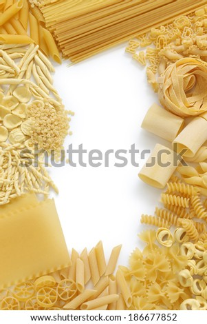 pasta assortment, italian food image - stock photo