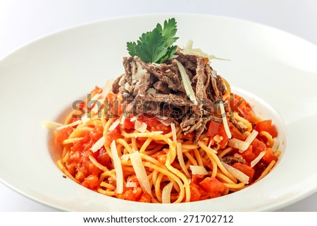 Pasta beef:An delicious pasta with beef and tomatoes sauce   Location:at Rawan Cake in Amman Jordan - stock photo