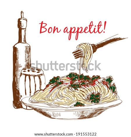 Pasta. Bon appetit. Hand drawn color illustration - stock photo