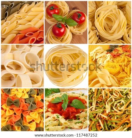 Pasta collage - stock photo
