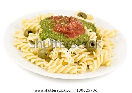 pasta dish on white background - stock photo