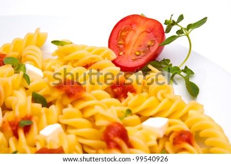 pasta dish with tomato - stock photo