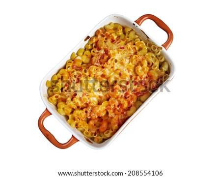 Pasta Elbow Macaroni Bake With Pancetta Tomato Sauce And Mozzarella Isolated On White Background