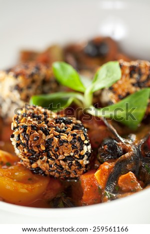 Pasta Farfalle with Salmon in Sesame and Tomatoes - stock photo