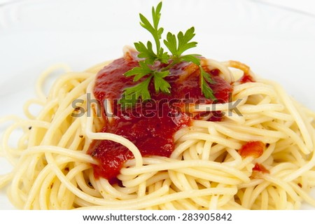 Pasta Food, Spaghetti with tomatoes sauce  ; - stock photo