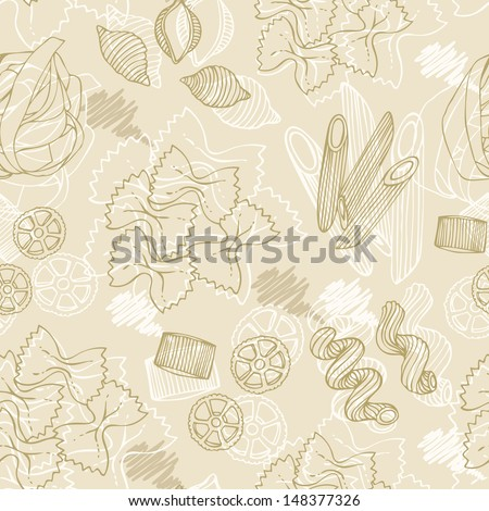 Pasta hand-drawn seamless pattern on a beige background - stock photo