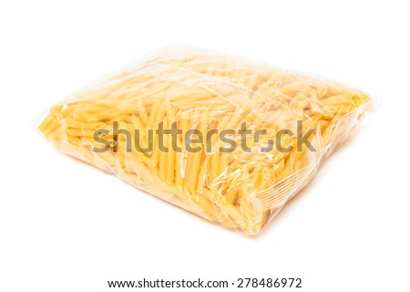 pasta in the package on a white background - stock photo