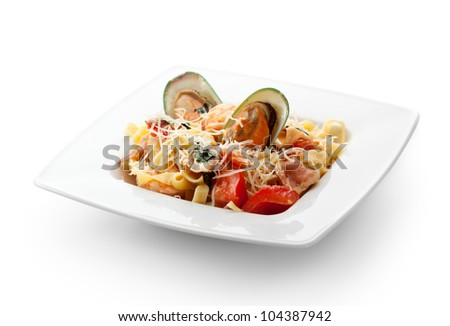 Pasta - Linguine with Seafood and Parmesan Cheese - stock photo