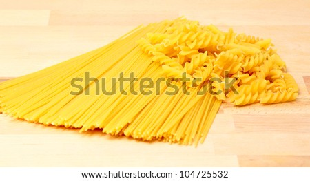 Pasta on kitchen counter.