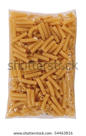 Pasta packaging. Isolated - stock photo