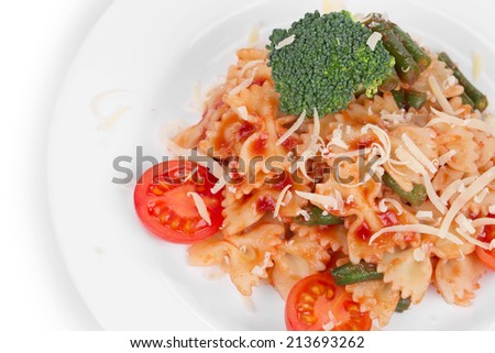 Pasta penne rigate with tomato sauce and broccoli as haute cuisine. Whole background. - stock photo