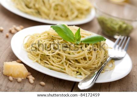 pasta pesto - stock photo