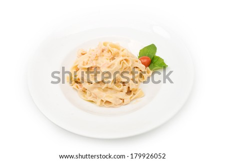 Pasta plate isolated on white  - stock photo