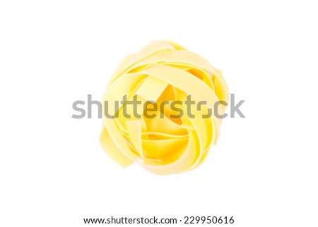 pasta raw egg color one circle top view isolated on white background - stock photo