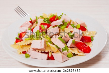 pasta salad with chicken and vegetables - stock photo