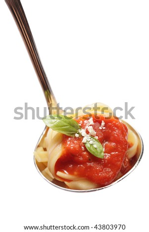 Pasta served in a ladle