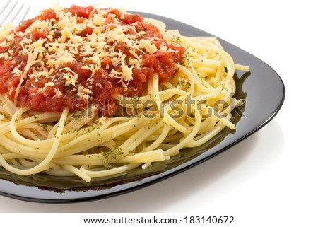 pasta spaghetti macaroni isolated on white background - stock photo