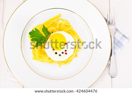 Pasta Spaghetti with Egg Studio Photo