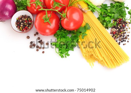 Pasta spaghetti with tomatoes, olive oil and basil on a white background