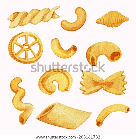 Pasta varieties. Watercolor illustration. - stock photo