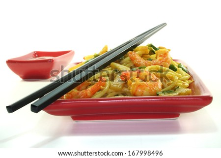 Pasta with Asian shrimp