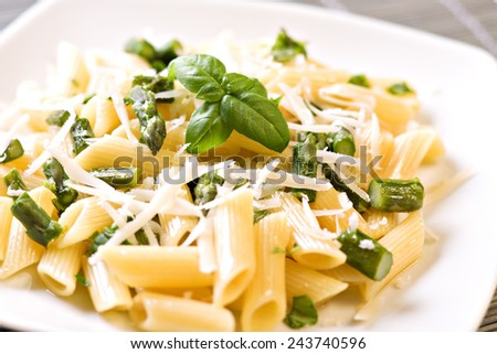 Pasta with Asparagus - stock photo