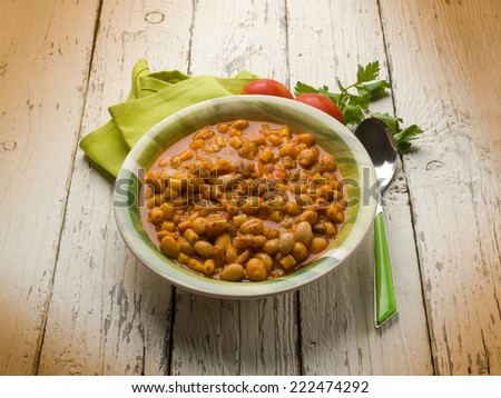 pasta with beans, traditional italian recipe - stock photo