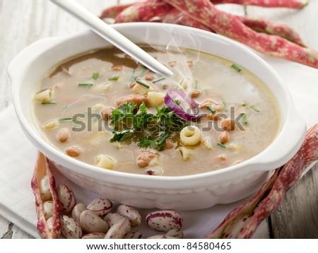 pasta with beans traditional italian recipe - stock photo