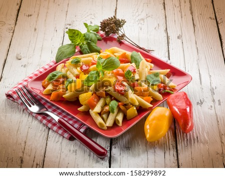 pasta with capsicum and basil - stock photo