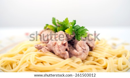 Pasta with cod liver - stock photo