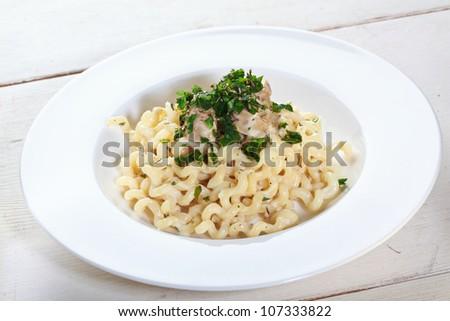 pasta with cream - stock photo